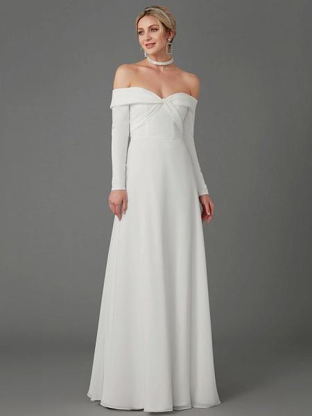 A-Line Wedding Dresses Off Shoulder Chapel Train Chiffon Tulle Long Sleeve Sexy_6