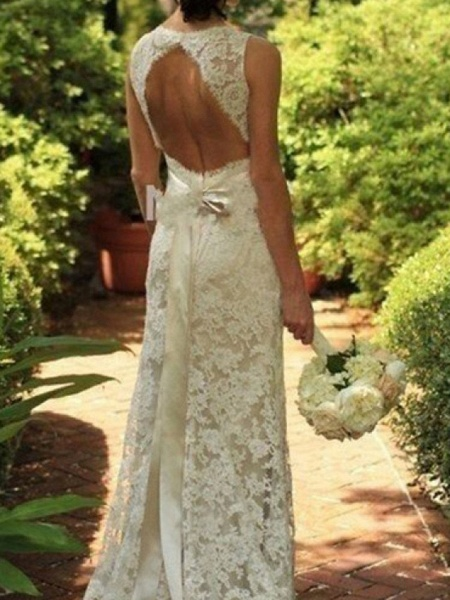 A-Line Wedding Dresses V Neck Sweep \ Brush Train Lace Sleeveless Sexy See-Through_3