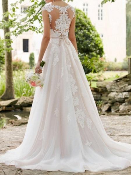 A-Line Wedding Dresses V Neck Sweep \ Brush Train Lace Tulle Regular Straps Formal Mordern Illusion Detail_3