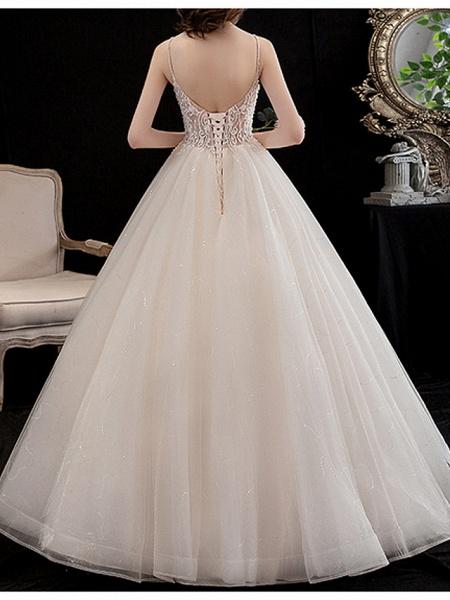 A-Line Wedding Dresses V Neck Floor Length Lace Spaghetti Strap_3