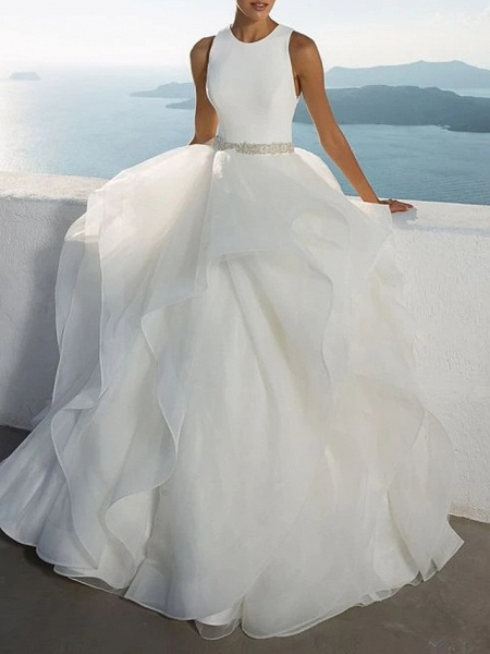 Ball Gown Jewel Neck Sweep \ Brush Train Polyester Sleeveless Beach Illusion Detail Plus Size Wedding Dresses_1