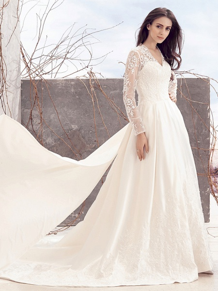 A-Line V Neck Chapel Train Lace Over Satin Long Sleeve Vintage Illusion Sleeve Wedding Dresses_4