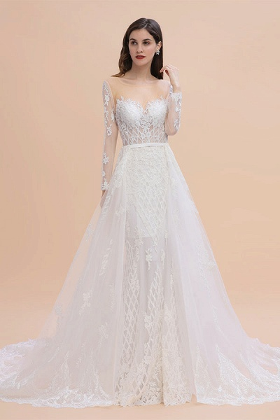 Mermaid Lace Long Sleeve Wedding Dresses With Detachable Train