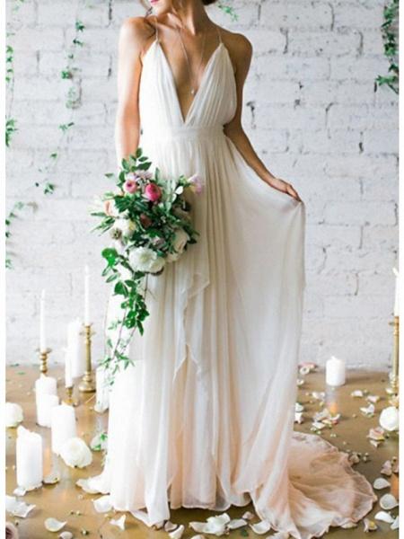 A-Line Wedding Dresses V Neck Spaghetti Strap Sweep \ Brush Train Chiffon Sleeveless Simple Beach Backless_1