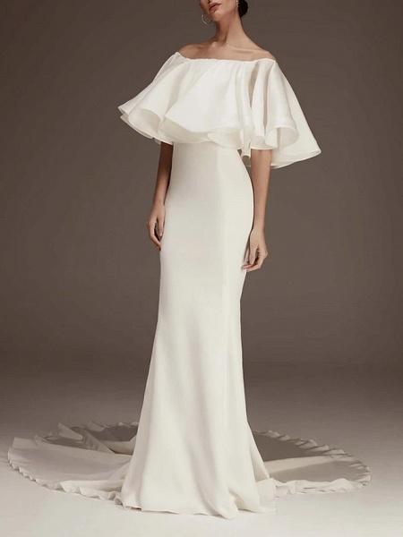 Sheath \ Column Wedding Dresses Jewel Neck Court Train Satin Half Sleeve Romantic Plus Size_1