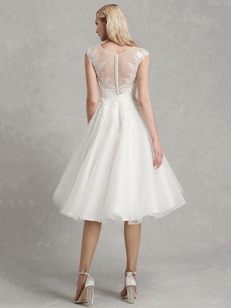 A-Line Wedding Dresses Jewel Neck Tea Length Lace Tulle Cap Sleeve Beautiful Back_2