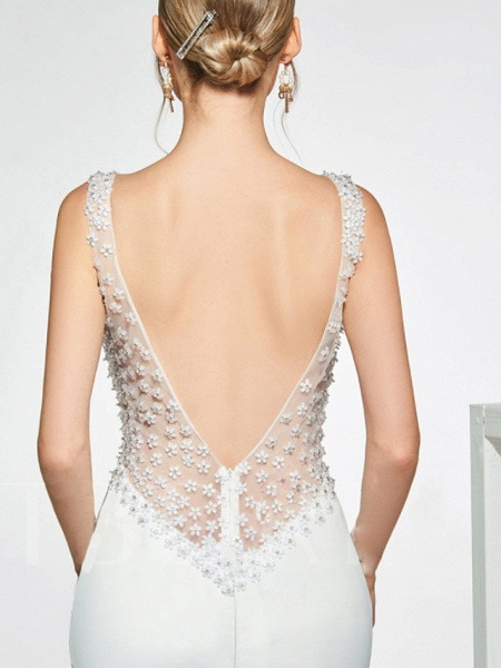 Mermaid \ Trumpet Wedding Dresses Jewel Neck Sweep \ Brush Train Lace Tulle Stretch Satin Cap Sleeve Country See-Through Backless_2