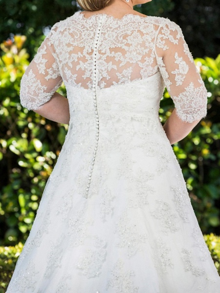 A-Line Scoop Neck Sweep \ Brush Train Lace Tulle Half Sleeve Country Plus Size Wedding Dresses_3