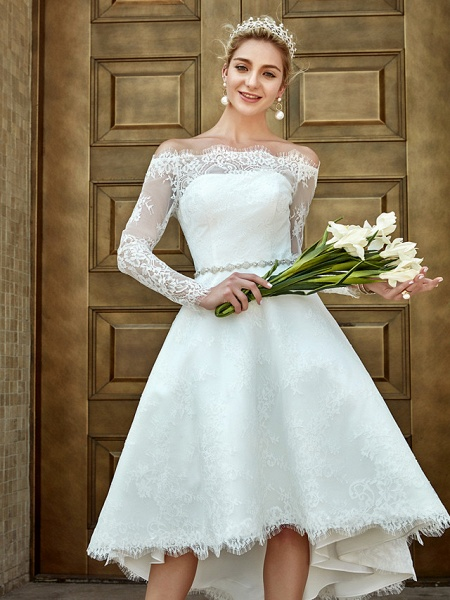 A-Line Wedding Dresses Off Shoulder Asymmetrical Lace Long Sleeve Casual Plus Size Illusion Sleeve_13