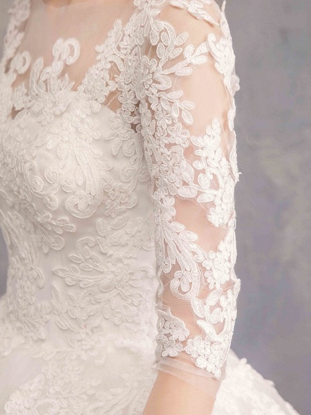 Ball Gown Wedding Dresses Bateau Neck Maxi Lace Tulle Half Sleeve Glamorous Illusion Sleeve_8