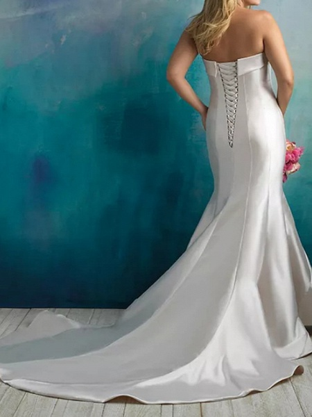 Mermaid \ Trumpet Wedding Dresses Strapless Sweep \ Brush Train Satin Sleeveless Country Plus Size_3