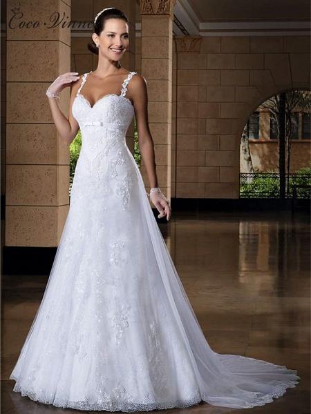 Mermaid \ Trumpet Jewel Neck Court Train Lace Tulle Regular Straps Sexy Wedding Dresses_2