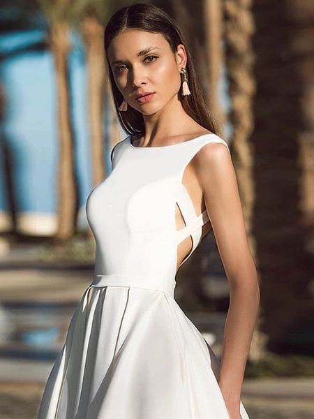A-Line Wedding Dresses Bateau Neck Court Train Polyester Cap Sleeve Beautiful Back_2