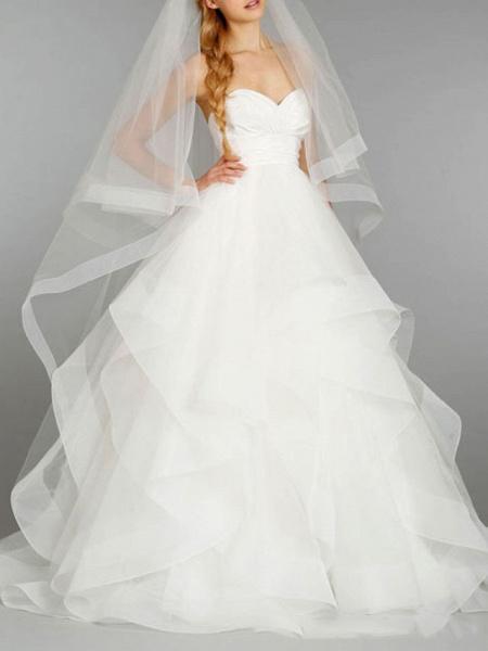 Ball Gown Strapless Floor Length Tulle Sleeveless Formal Wedding Dresses_2