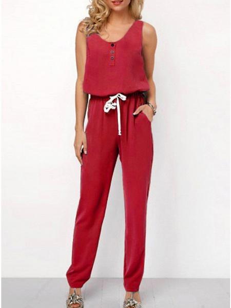 Women's Black Blue Red Jumpsuit_4