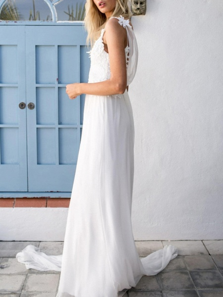 A-Line Wedding Dresses V Neck Spaghetti Strap Sweep \ Brush Train Chiffon Lace Sleeveless Vintage Sexy Wedding Dress in Color Backless_3