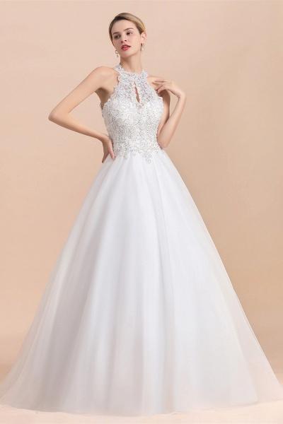Halter Lace Appliques A-line Sequins Sleeveless Wedding Dress_1