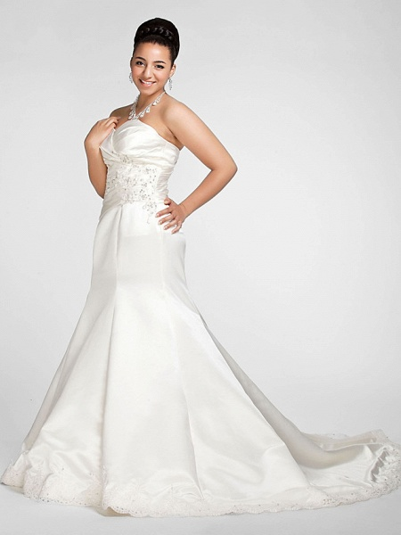 Mermaid \ Trumpet Wedding Dresses Sweetheart Neckline Court Train Satin Strapless Formal Sparkle & Shine Plus Size_3