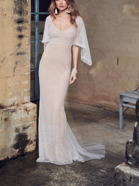 A-Line Wedding Dresses V Neck Court Train Tulle Sleeveless Vintage Sexy Wedding Dress in Color See-Through_6