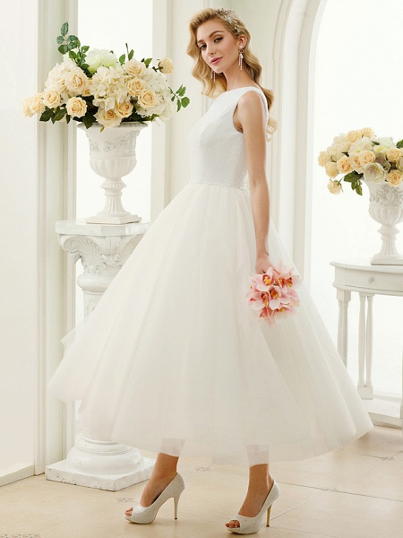 A-Line Wedding Dresses Bateau Neck Tea Length Tulle Sequined Regular Straps Simple Little White Dress_3