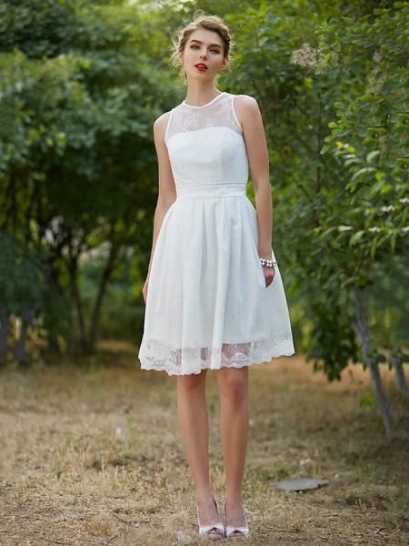 A-Line Wedding Dresses Jewel Neck Knee Length Lace Sleeveless Little White Dress_1