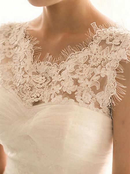 Mermaid \ Trumpet Wedding Dresses Bateau Neck Court Train Lace Tulle Cap Sleeve Plus Size_4