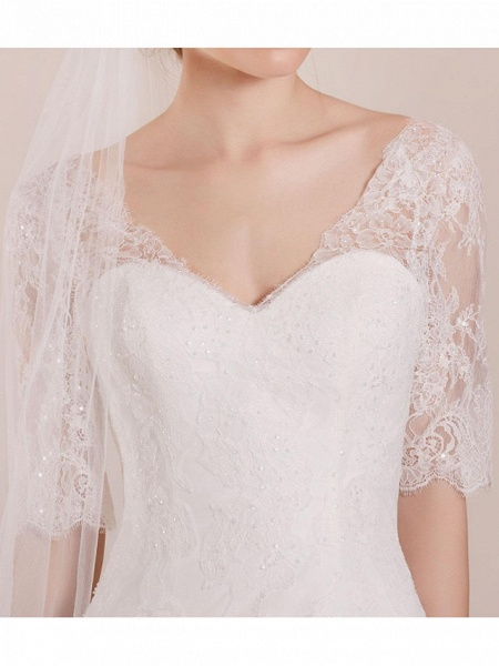 A-Line Wedding Dresses Sweetheart Neckline Sweep \ Brush Train Polyester Half Sleeve Country Plus Size Illusion Sleeve_4