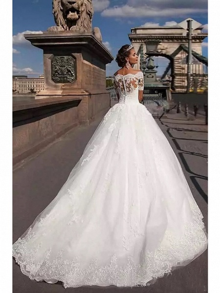 Ball Gown A-Line Wedding Dresses Off Shoulder Court Train Lace Tulle Lace Over Satin Short Sleeve Country Illusion Detail Backless_2