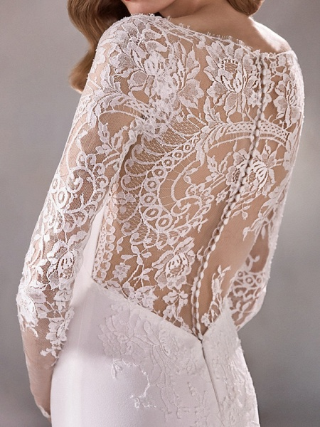 Mermaid \ Trumpet Wedding Dresses Plunging Neck Court Train Polyester Long Sleeve Country Illusion Sleeve_5
