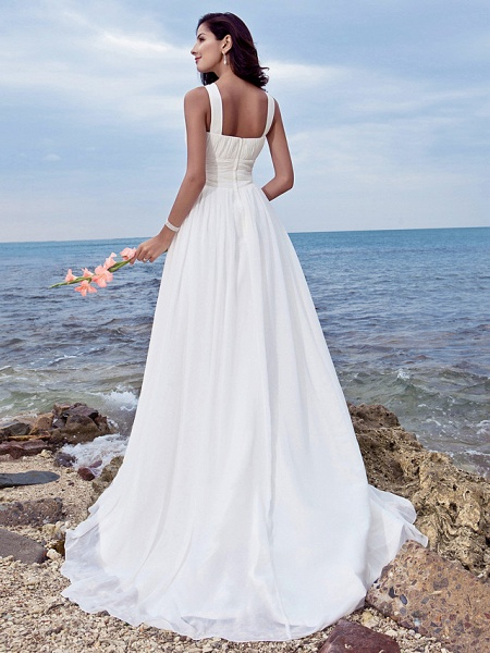 A-Line Wedding Dresses Jewel Neck Sweep \ Brush Train Chiffon Regular Straps Formal Beach Plus Size_2