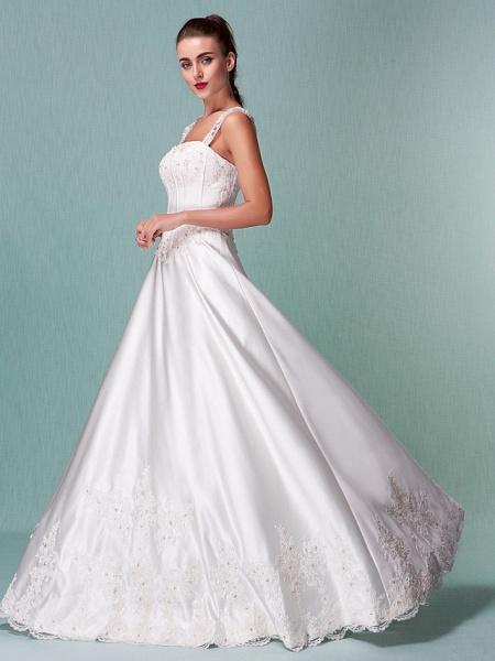 Lt14001 Simple Boho Ball Gown Wedding Dress_1