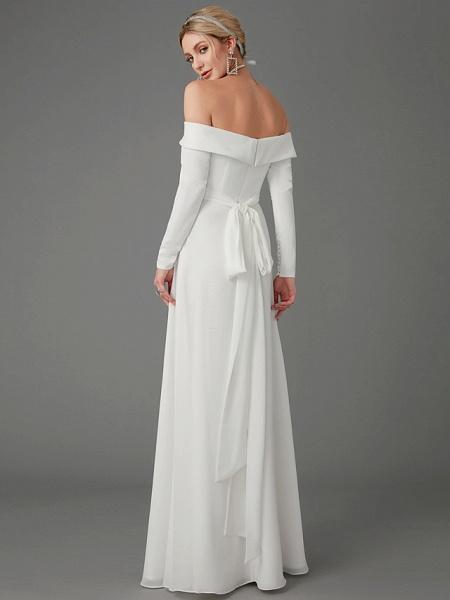 A-Line Wedding Dresses Off Shoulder Chapel Train Chiffon Tulle Long Sleeve Sexy_7