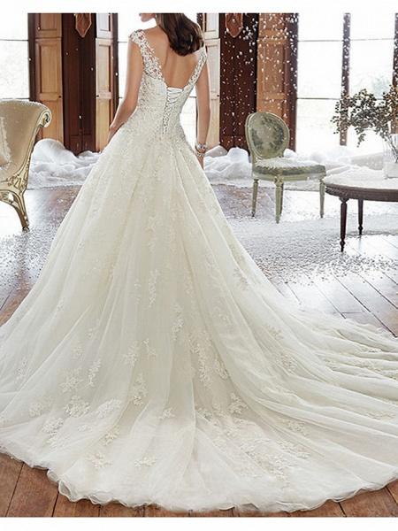 A-Line Wedding Dresses V Neck Court Train Tulle Regular Straps Formal Plus Size_2