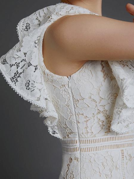 A-Line V Neck Sweep \ Brush Train Lace Sleeveless Boho Wedding Dresses_10