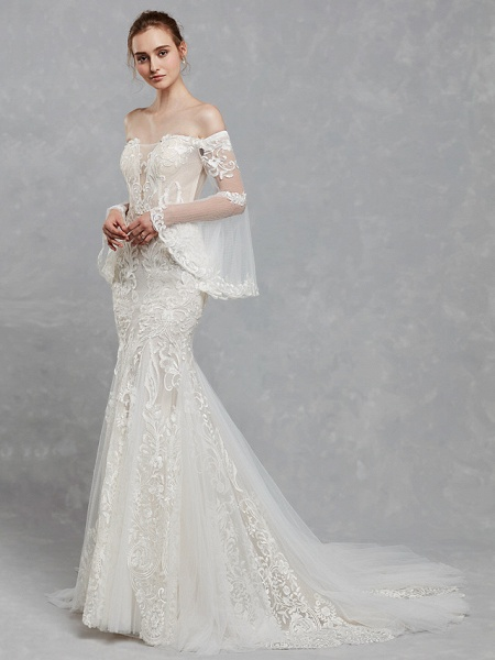 Mermaid \ Trumpet Off Shoulder Court Train Lace Tulle Long Sleeve Romantic Boho See-Through Backless Illusion Sleeve Wedding Dresses_6