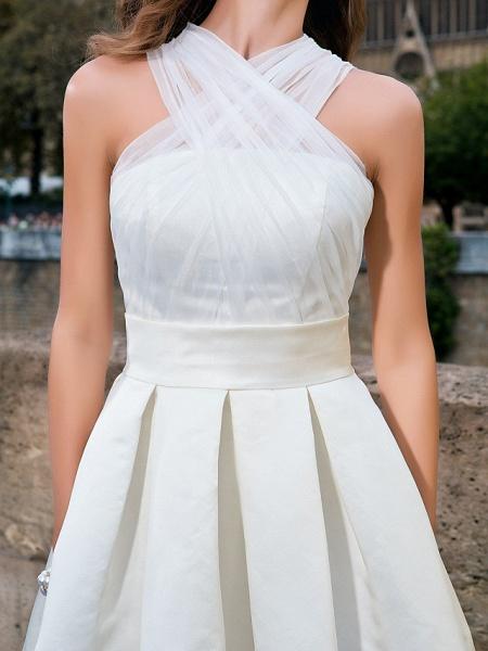 Ball Gown A-Line Wedding Dresses V Neck Knee Length Organza Satin Sleeveless Little White Dress_7