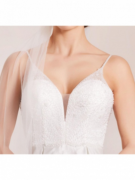 A-Line Wedding Dresses Spaghetti Strap Sweep \ Brush Train Polyester Sleeveless Country Plus Size_3