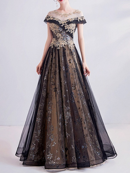 A-Line Wedding Dresses Jewel Neck Sweep \ Brush Train Lace Tulle Short Sleeve Formal Black_1