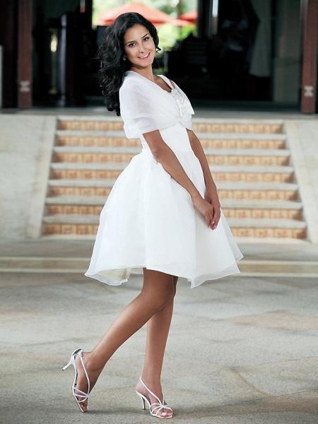 Ball Gown Wedding Dresses Square Neck Knee Length Organza Taffeta Regular Straps Little White Dress_4