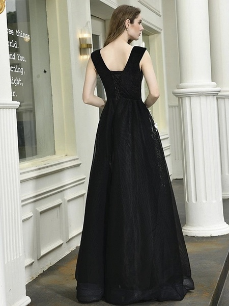 A-Line Wedding Dresses V Neck Floor Length Lace Tulle Regular Straps Sexy Black Modern_5