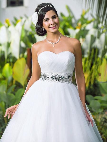 Ball Gown Wedding Dresses Sweetheart Neckline Floor Length Tulle Sleeveless Open Back_5