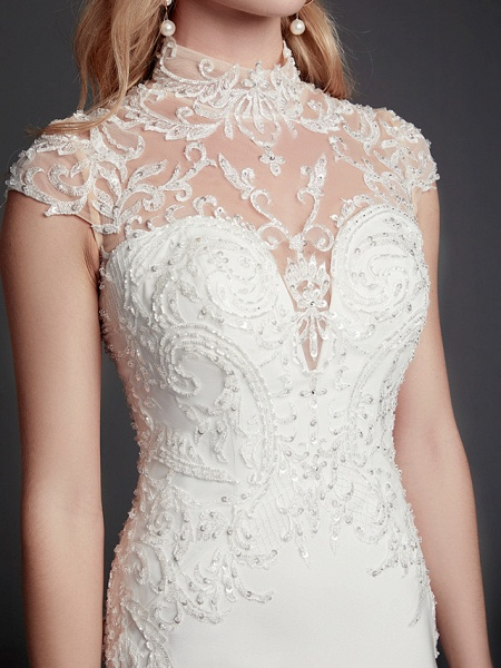Mermaid \ Trumpet Wedding Dresses High Neck Court Train Lace Satin Sleeveless Sexy See-Through Illusion Detail Backless_8