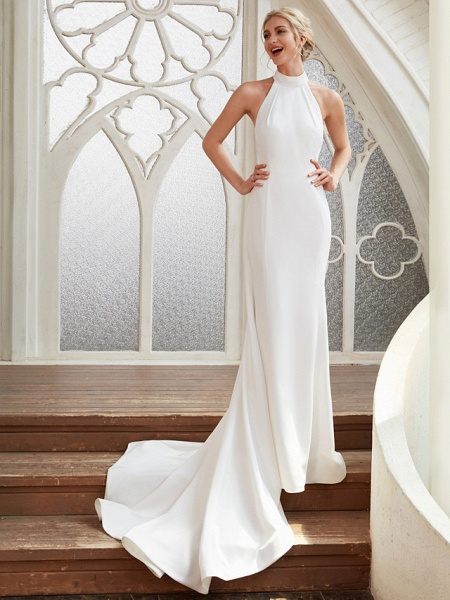 Sheath \ Column Wedding Dresses Halter Neck Court Train Chiffon Satin Regular Straps Simple Backless Elegant_4