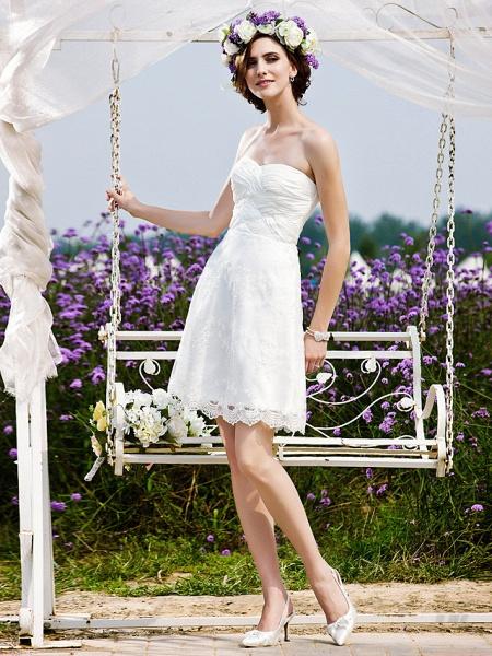 Princess A-Line Wedding Dresses Strapless Short \ Mini Chiffon Lace Sleeveless Little White Dress_3