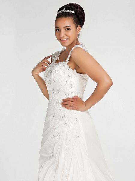 Mermaid \ Trumpet Wedding Dresses Square Neck Court Train Chiffon Regular Straps Vintage Sparkle & Shine Plus Size_6