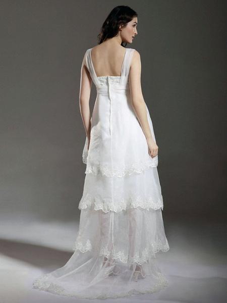 A-Line Wedding Dresses Straps Sweetheart Neckline Sweep \ Brush Train Asymmetrical Organza Sleeveless_4
