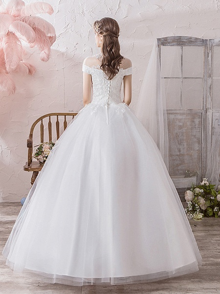 Ball Gown Wedding Dresses High Neck Floor Length Lace Tulle Polyester Sleeveless Formal Romantic_4