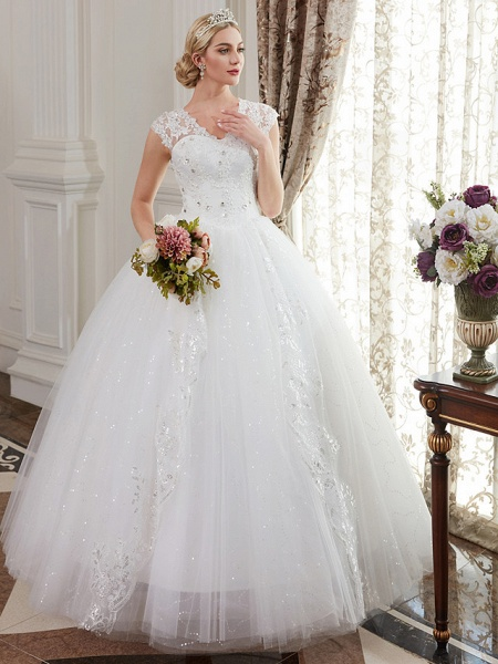 Ball Gown Wedding Dresses V Neck Floor Length Satin Lace Over Tulle Cap Sleeve Romantic Illusion Detail_4