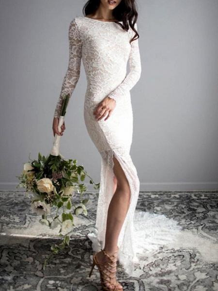 Mermaid \ Trumpet Wedding Dresses Jewel Neck Sweep \ Brush Train Lace Long Sleeve Sexy_1