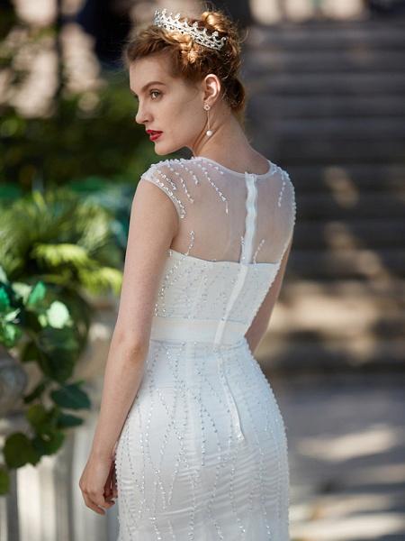 Mermaid \ Trumpet Wedding Dresses Illusion Neck Floor Length Tulle Sleeveless Sparkle & Shine_8